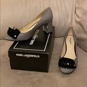 Karl Lagerfeld houndstooth heels